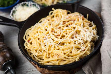 Spaghetti carbonara with egg and pancetta Stock Photo