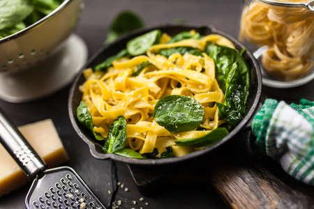 Spinach tagliatelle pasta Stock Photo