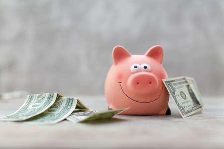 Piggy bank on grey background