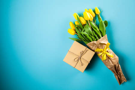 Yellow tulips on blue background Kho ảnh