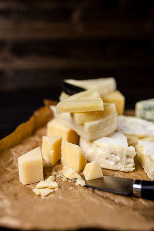 Different sorts of cheese Stock Photo