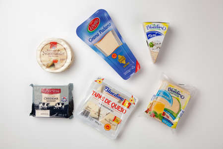Assortment of cheese in original packaging