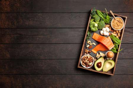 Ketogenic diet concept - low carb healthy food Foto de archivo