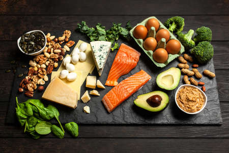 Ketogenic diet concept - low carb healthy food Stock Photo