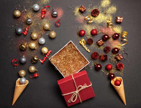 Christmas background with ice-cream cones