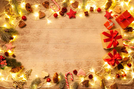 Christmas lights on wooded background