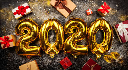 Happy New Year 2020 golden baloons Stock Photo