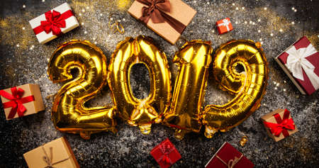 Happy New Year 2019 golden baloons Stock Photo