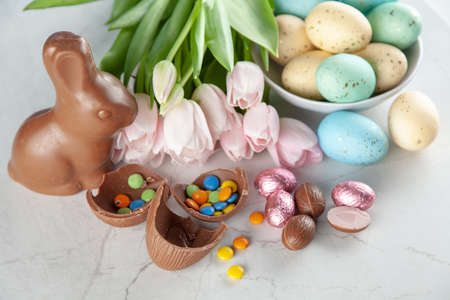 Easter chocolate bunny and eggs Stock Photo