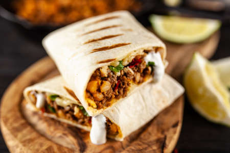 Mexican beef burrito Stock Photo - 120032104
