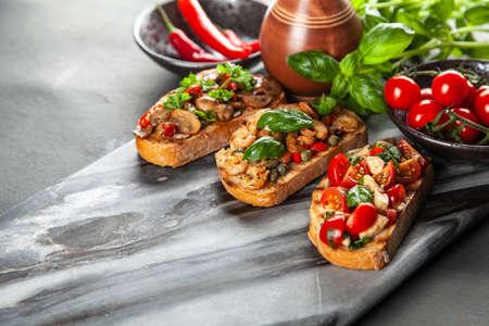 Assortment of traditional Italian bruschettas