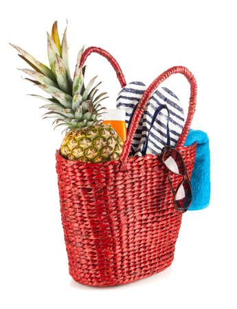 Red beach bag isolated on white