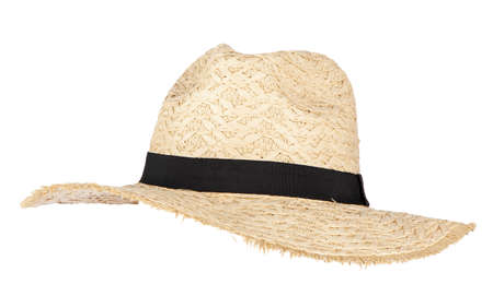 Summer straw hat isolated on white Stok Fotoğraf