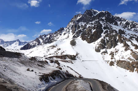 highroad: Landscape of the firn mountain and highroad in chile.