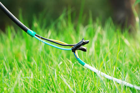 grassplot: The cable connects wire in grassplot Stock Photo