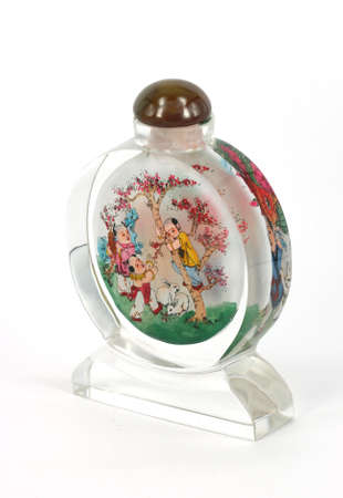 glasswork: Snuff-bottle with inside painting on white background.