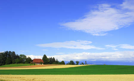 Small farm house in the fields, blue sky. Taken in switzerland. photo