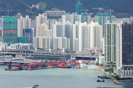 overlook: Overlook the city port of the Kowloon?hongkong Stock Photo