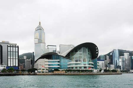 Le paysage de tir de Hong Kong Convention Centre Banque d'images - 4269743