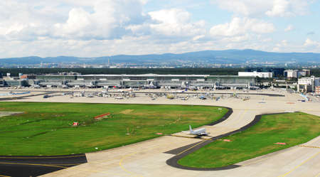 airfield: a panorama photo of the airfield at Frankfurt Stock Photo