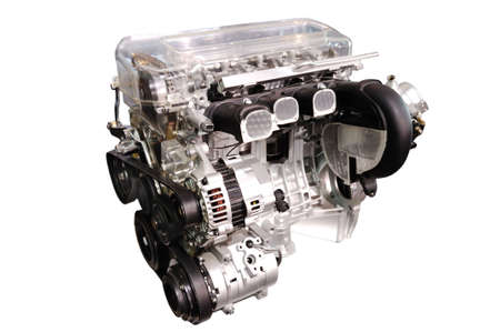 heart gear: engine of modern car isolated white
