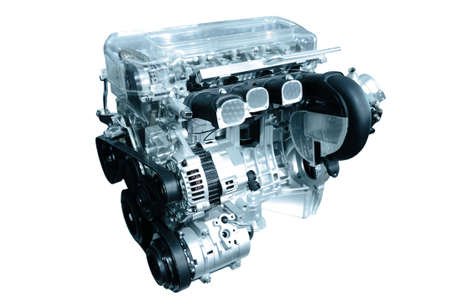 motor vehicle: engine of modern car isolated white