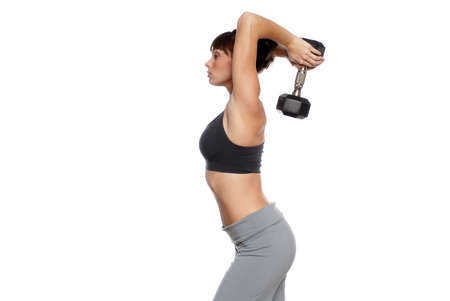 bod: Young woman working out with dumbbells