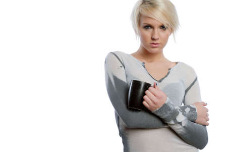 drinkable: Beautiful Blonde woman with cup of coffee Stock Photo
