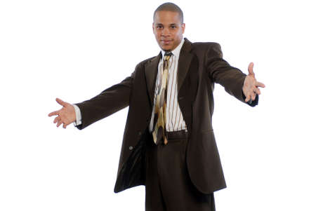 Young African American Male in Business Suit with Arms open