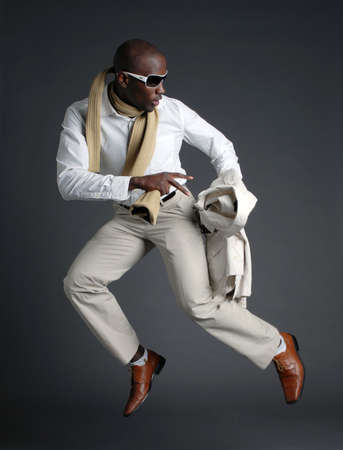 Fashionable African American Male Jumping