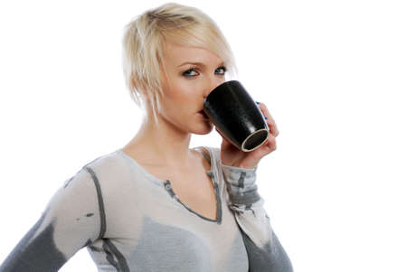 Beautiful Blonde woman with cup of coffee Stock Photo