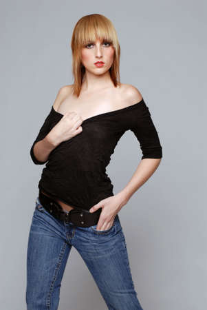 Young beautiful woman in jeans