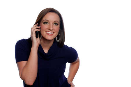 Woman smiling while on cellphone
