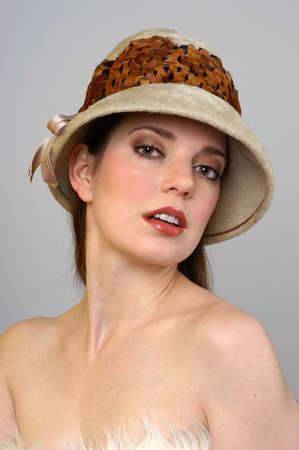 Portrait of a Beautiful Woman in Fur Hat Banco de Imagens