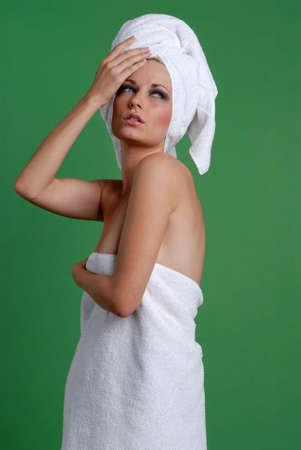 Beautiful blonde woman in day spa Banco de Imagens