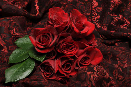 Red roses on textured red and black floral fabric