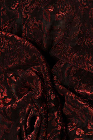 Textured red and black floral fabric Banco de Imagens