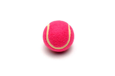 Pink tennis ball isolated on white