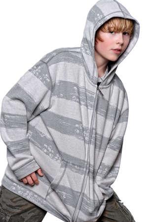 Young teenage boy in hooded sweatshirt Banco de Imagens