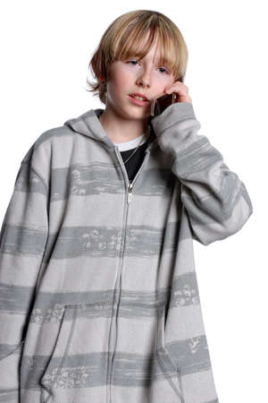 Teenage boy talking on cellphone