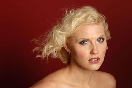 Beautiful blonde woman with hair blowing Banco de Imagens