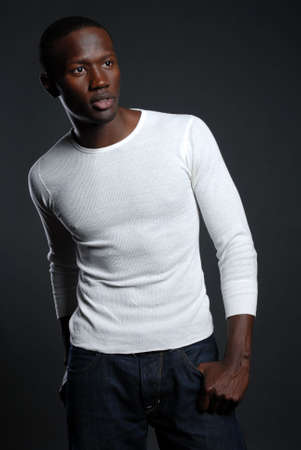 Young African American male in white shirt Banco de Imagens - 6322176