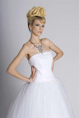 Beautiful young bride in white dress Banco de Imagens