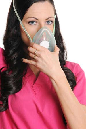 Nurse putting on CPR mask