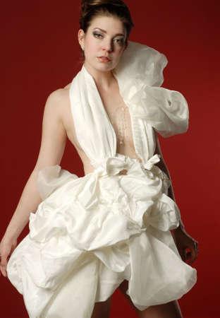 Beautiful woman in fashionable fluffy white dress Banco de Imagens - 6772443