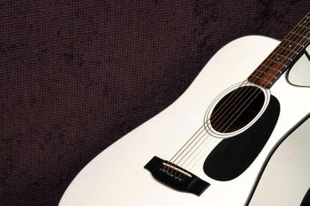 Closeup of white acoustic guitar for background use Banco de Imagens - 6772437