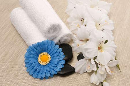 Towels; rocks; flower and blue gerber daisy Banco de Imagens - 6772448
