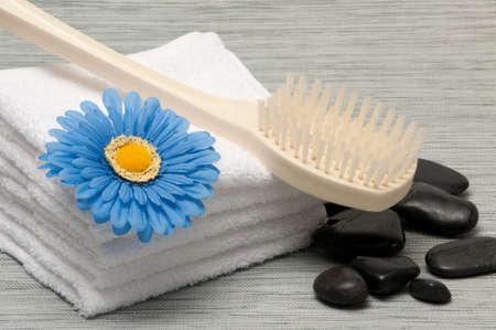 Bath back brush, towels, rocks and blue gerber daisy Banco de Imagens - 6772450