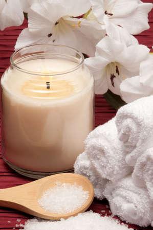 Candle, sea salt, flower and towels Banco de Imagens - 6772454