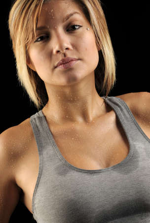 sweat girl: Beautiful woman sweating after workout